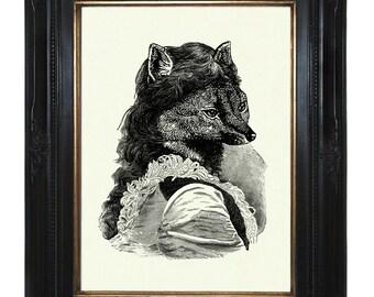 Lady Fox Art Print Victorian Woodland Portrait Steampunk Art Print Portrait Vixen Animal