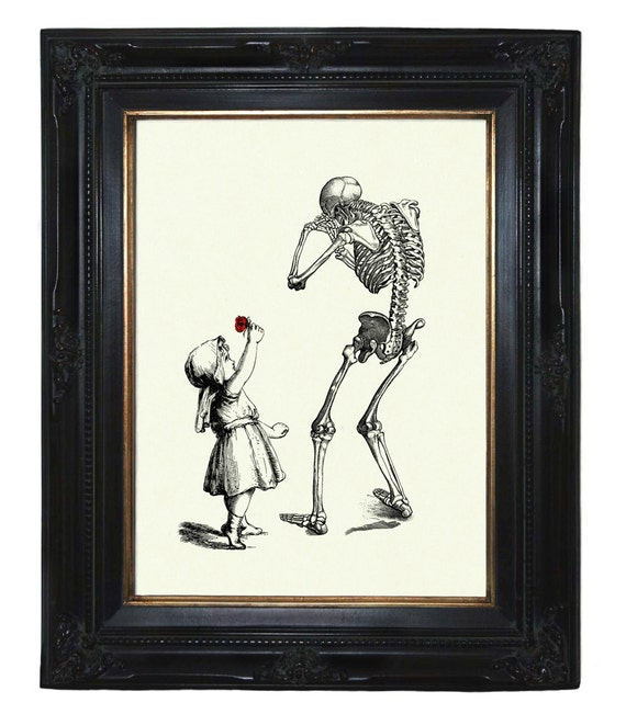 Halloween Girl gives sad Skeleton Reaper Death a red Rose Victorian Steampunk art print