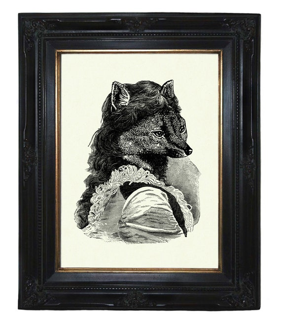 Lady Fox Victorian Woodland Portrait Steampunk art print portrait