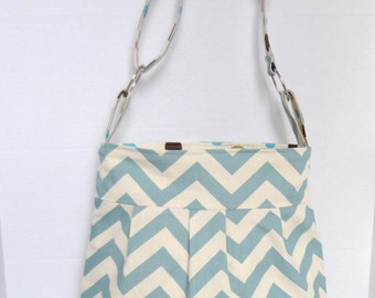 Diaper bag, purse medium pleated- baby blue and natural chevron with polka dot lining- adjustable strap
