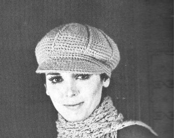 PDF 1970 Crochet hat pattern, hat with visor, instant download