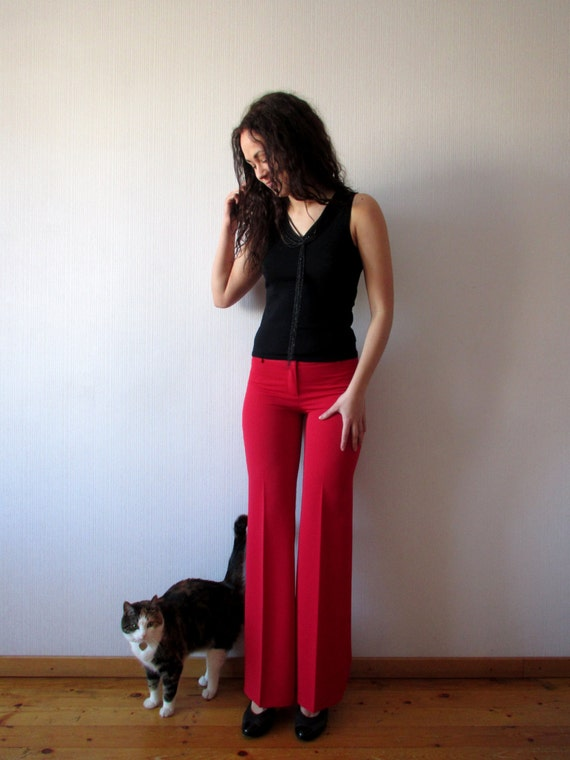 Bright Red Pants Pleated Trousers Flared Slacks