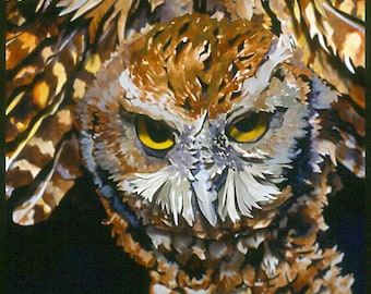 Screech Owl In Flight Paper Sculpture