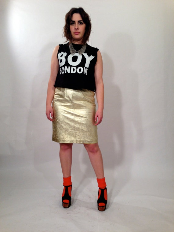 80s metallic gold leather skirt by ouithepeople on etsy