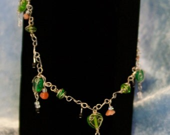 Glass bead and wire necklace