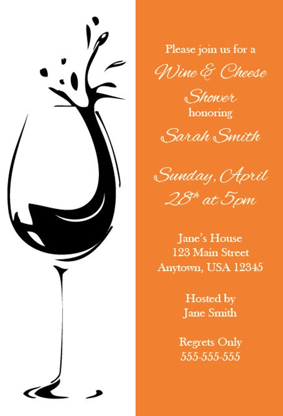 Wine and Cheese Bridal Shower Bachelorette Party Invitation