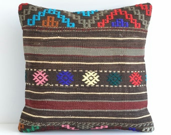 Turkish Kilim Pillows - 16x16 Bohemian Home Decor Handwoven Ethnic Tribal Turkish Kilim Pillow Cushion Cover Case Throw Pillows