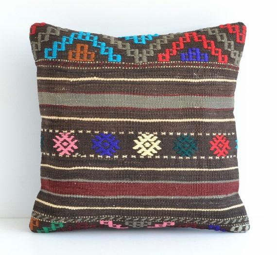 Turkish Kilim Pillow Home Decor Decorative Pillow Home: Turkish Kilim Pillows 16x16 Bohemian Home Decor Handwoven