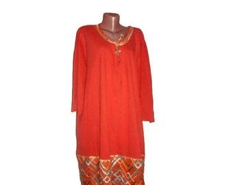 Orange Dress Tunic, Plus Size Tunic, Maternity Dress Tunic, Boucle, Burnt Orange Blue Grey Yellow White, Woven, OOAK