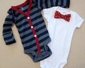 Baby Boy Blue/Gray Stripe with Red Cardigan Outfit with Removable Red Polka Dot Bow Tie