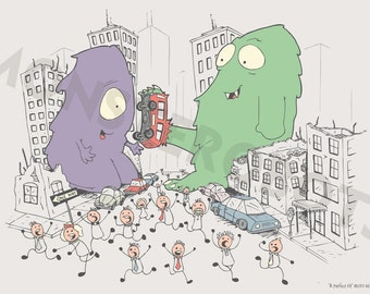 "Cute Monster Art, Baby Nursery or Kids Room - ""A Perfect Fit"" - 13x19 Digital Print"