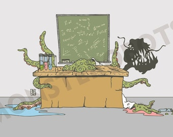 """Monster Science Art - Classroom, Kids Room or Play Area - """"The Experiment"""" - 13x19 Digital Print"""