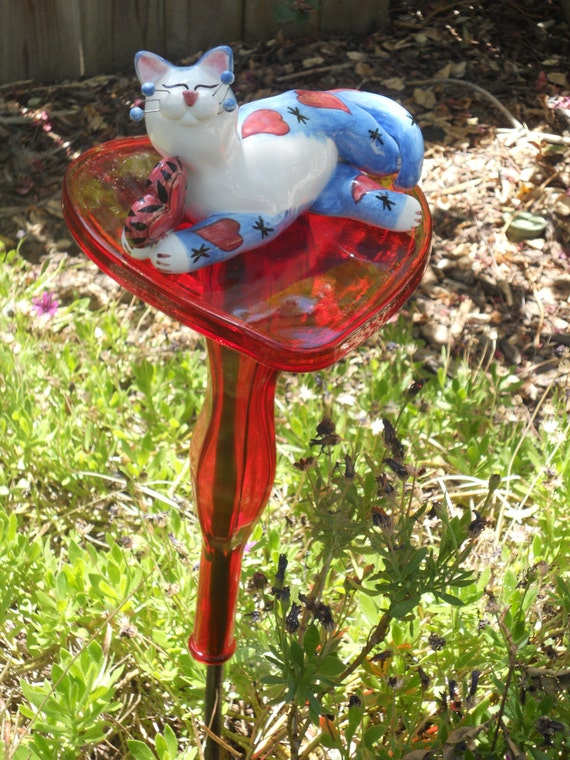 Cat lover recycled yard art by reusemagic on etsy for Cat yard art