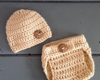 Crochet Baby Beanie Hat and Diaper Cover Set - ANY COLOR