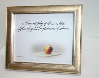 Framed Scripture Verse Picture-KJV in beautiful vintage frame-Proverbs 25:11