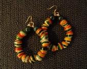 West African Rasta Hoops - Jasper & West African Beads, Ethnic Hoop Earrings, African Hoop Earrings