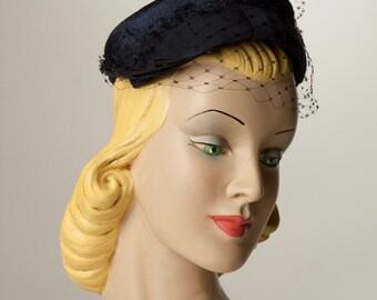 Navy Veiled hat