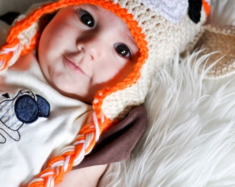 Cream and Orange Sock Monkey Baby Newborn Hat Beanie Photo Prop
