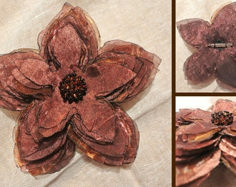 Glamorous Golden Brown Large Fabric Brooch, Star/Flower Shaped Pin