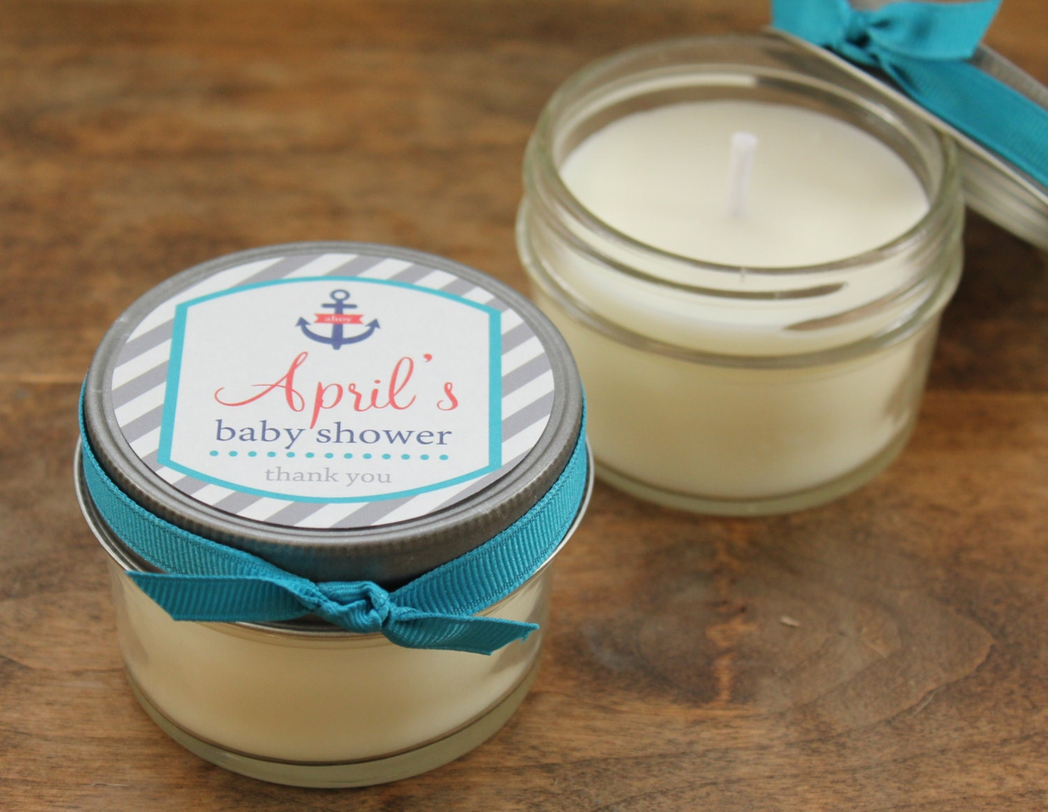 set of 12 4 oz baby shower favor candles nautical tag