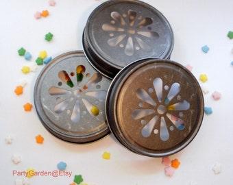 Mason Jar Daisy Lid - Antique Pewter - set of 15