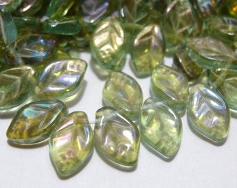 Glass 12x8mm Leaves  Aqua Celsian AB  25 Pieces
