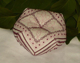 Tudor 'Seasons - Summer Carnation' Beaded Embroidery Biscornu Pincushion - Contemporary Blackwork