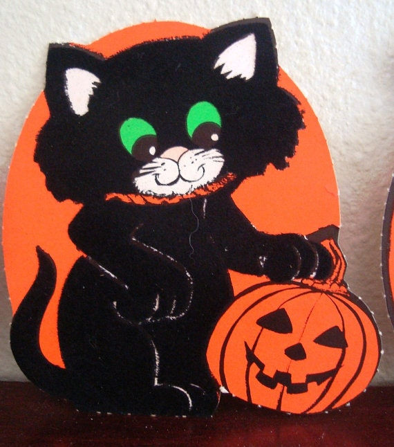 Vintage Halloween Decorations Sweet Cats Flocked