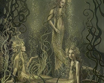 """Rhinemaidens No. 1 (Unframed 18""""x24"""" Giclée Print) Art  by David Delamare (Wagner Ring Cycle)"""