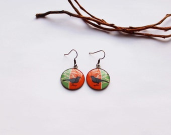 Bird earrings Dangle earrings Bird theme  Bird art Songbirds Tiny bird earrings Songbird Jewelry Nature Jewelry Whimsical bird art