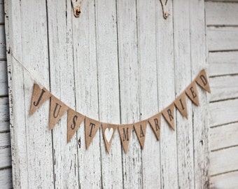 JUST MARRIED Burlap Wedding Banner, wedding, bunting, custom color hearts