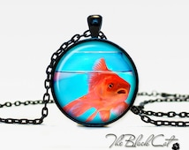 Gold fish pendant Gold fish necklace Gold fish jewelry nature