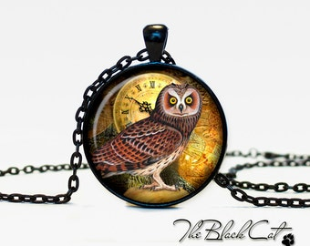 Steampunk Owl pendant Steampunk Owl necklace Steampunk Owl jewelry (POW0004)