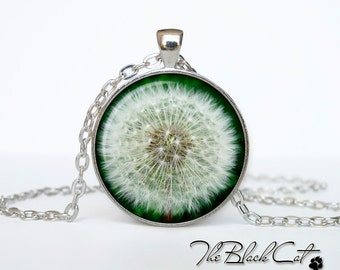 Dandelion pendant  Dandelion necklace  Dandelion jewelry  yellow flower jewelry art gift for her