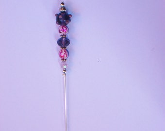 Brooch, FIBULA, shawl pin, scarf pin  - Amethyst glass, crystal Swaroski - Customize your clothes