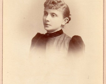 Antique Photo of Impassive Young Lady