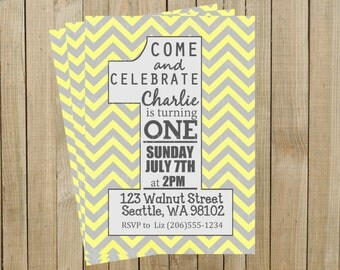 Yellow and Gray Chevron One First Birthday Invitation, Custom Digital File, Printable