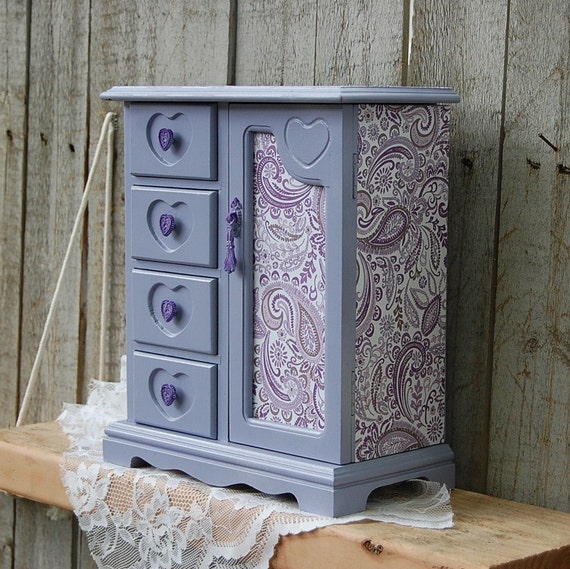 jewelry box armoire shabby chic french lavender purple. Black Bedroom Furniture Sets. Home Design Ideas