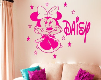 Disney minnie mouse 500mm (h) x 360mm (w) & 450mm (length) name personalised wall sticker art decal mural vinyl kids room DS-3, 003