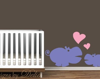 Nursery Wall Decal, Hippo and Baby Hippo Wall Decal
