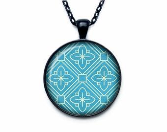 Retro pattern pendant Retro pattern necklace Retro pattern jewelry sign necklace aqua turquoise