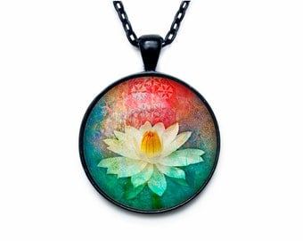 Lotus pendant  Lotus flower necklace charm Lotus pendant Lotus jewelry