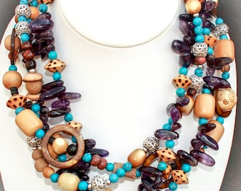 Amethyst with Turquoise and Mother of Pearl Necklace