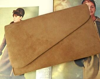 Vintage Tapue Colored Suede Satchel Purse 60s Handbag Purse