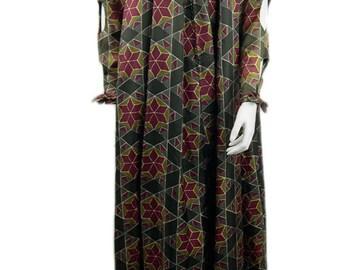"Vintage Jean Varon ""Elizabethan"" Printed Full Length Dress 1970s"