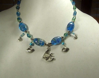"Cynthia Lynn ""OCEAN"" Blue & Green Glass Bead Necklace with Angel Fish and Shell Charms 16-18"""