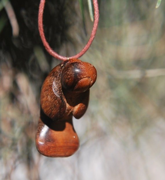 Manatee pendant / necklace hand carved from mora wood / exotic wood