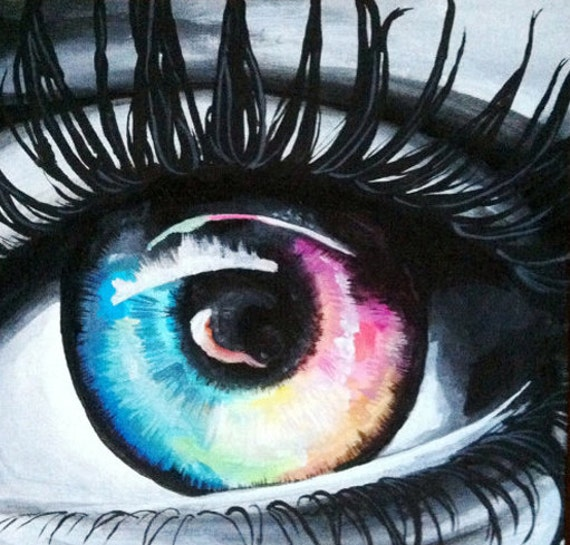 Items similar to 12x12 colorful eye painting on etsy for Cool things to draw with markers