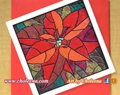 Poinsettia Mosaic Card- Greeting Card- Small Card- Any Occasion- Blank Card- Poinsettia Card- Pointsetta Card- Christmas Card- Xmas Card