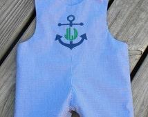 Classic Blue Gingham Boys Monogrammed Jon Jon Shortall, You Choose the Embroidery